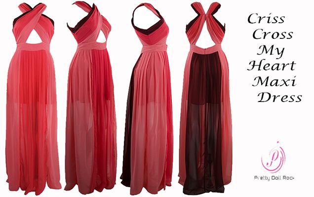 prettydollrock blog, criss cross maxi dress, party dress, coral color block dress