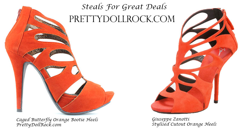 prettydollrock blog, steals, shoes, heels, orange heels, cut out heels, platform heels